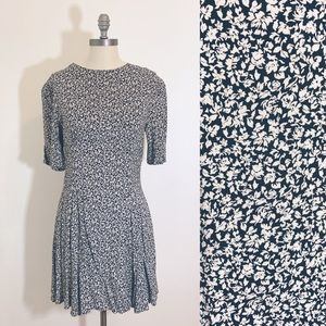 VTG 90s Black White Express Flower Grunge Dress
